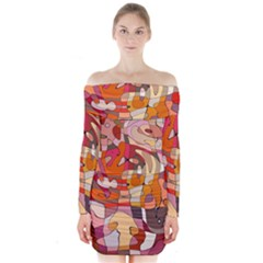 Abstract Abstraction Pattern Modern Long Sleeve Off Shoulder Dress