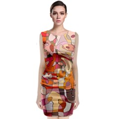 Abstract Abstraction Pattern Modern Sleeveless Velvet Midi Dress
