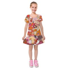 Abstract Abstraction Pattern Modern Kids  Short Sleeve Velvet Dress