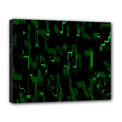 Abstract Art Background Green Canvas 14  x 11