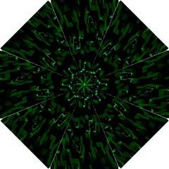 Abstract Art Background Green Hook Handle Umbrellas (Small)