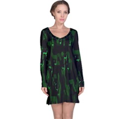 Abstract Art Background Green Long Sleeve Nightdress