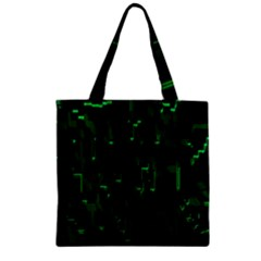 Abstract Art Background Green Zipper Grocery Tote Bag