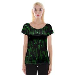 Abstract Art Background Green Women s Cap Sleeve Top