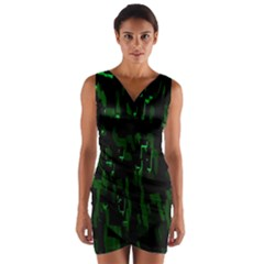 Abstract Art Background Green Wrap Front Bodycon Dress