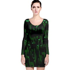 Abstract Art Background Green Long Sleeve Velvet Bodycon Dress