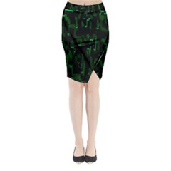Abstract Art Background Green Midi Wrap Pencil Skirt