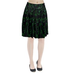 Abstract Art Background Green Pleated Skirt