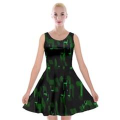 Abstract Art Background Green Velvet Skater Dress