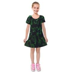 Abstract Art Background Green Kids  Short Sleeve Velvet Dress