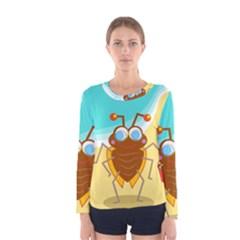 Animal Nature Cartoon Bug Insect Women s Long Sleeve Tee