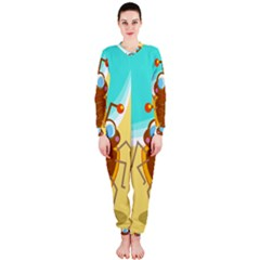 Animal Nature Cartoon Bug Insect OnePiece Jumpsuit (Ladies)