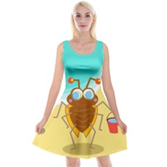 Animal Nature Cartoon Bug Insect Reversible Velvet Sleeveless Dress