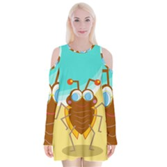 Animal Nature Cartoon Bug Insect Velvet Long Sleeve Shoulder Cutout Dress
