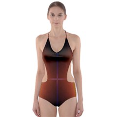 Abstract Painting Cut-Out One Piece Swimsuit