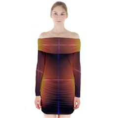 Abstract Painting Long Sleeve Off Shoulder Dress
