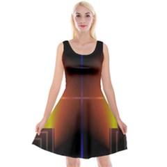 Abstract Painting Reversible Velvet Sleeveless Dress