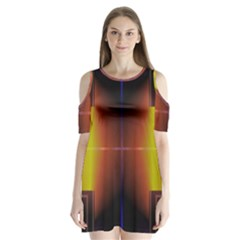 Abstract Painting Shoulder Cutout Velvet  One Piece
