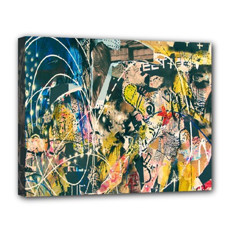 Art Graffiti Abstract Lines Canvas 14  x 11