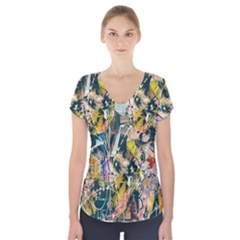 Art Graffiti Abstract Lines Short Sleeve Front Detail Top