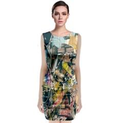 Art Graffiti Abstract Lines Sleeveless Velvet Midi Dress