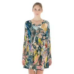 Art Graffiti Abstract Lines Long Sleeve Velvet V Neck Dress