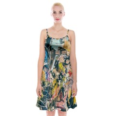 Art Graffiti Abstract Lines Spaghetti Strap Velvet Dress