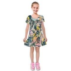 Art Graffiti Abstract Lines Kids  Short Sleeve Velvet Dress
