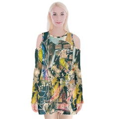 Art Graffiti Abstract Lines Velvet Long Sleeve Shoulder Cutout Dress