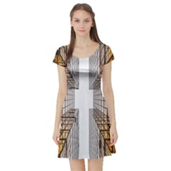 Architecture Facade Buildings Windows Short Sleeve Skater Dress