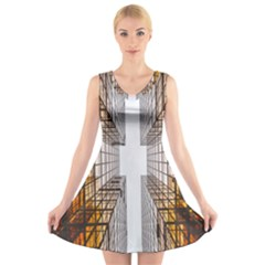 Architecture Facade Buildings Windows V Neck Sleeveless Skater Dress