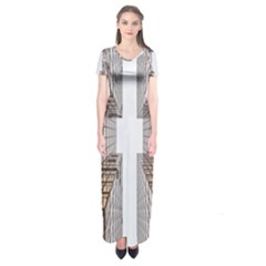 Architecture Facade Buildings Windows Short Sleeve Maxi Dress