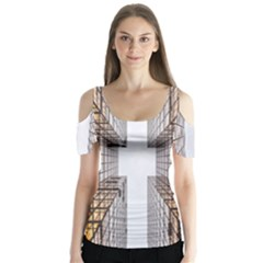 Architecture Facade Buildings Windows Butterfly Sleeve Cutout Tee