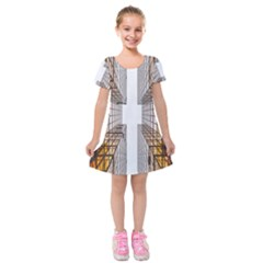 Architecture Facade Buildings Windows Kids  Short Sleeve Velvet Dress