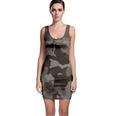 Background For Scrapbooking Or Other Camouflage Patterns Beige And Brown Sleeveless Bodycon Dress