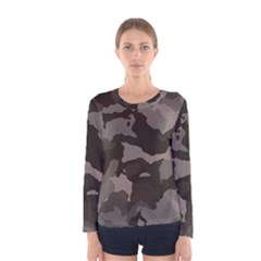 Background For Scrapbooking Or Other Camouflage Patterns Beige And Brown Women s Long Sleeve Tee