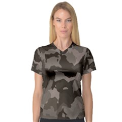 Background For Scrapbooking Or Other Camouflage Patterns Beige And Brown Women s V Neck Sport Mesh Tee