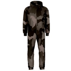 Background For Scrapbooking Or Other Camouflage Patterns Beige And Brown Hooded Jumpsuit (Men)