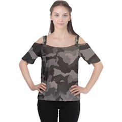 Background For Scrapbooking Or Other Camouflage Patterns Beige And Brown Women s Cutout Shoulder Tee