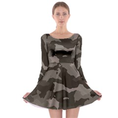 Background For Scrapbooking Or Other Camouflage Patterns Beige And Brown Long Sleeve Skater Dress