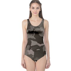 Background For Scrapbooking Or Other Camouflage Patterns Beige And Brown One Piece Swimsuit