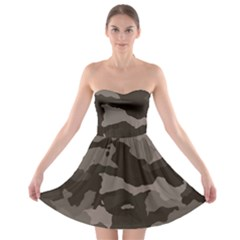 Background For Scrapbooking Or Other Camouflage Patterns Beige And Brown Strapless Bra Top Dress