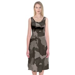 Background For Scrapbooking Or Other Camouflage Patterns Beige And Brown Midi Sleeveless Dress
