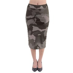 Background For Scrapbooking Or Other Camouflage Patterns Beige And Brown Midi Pencil Skirt