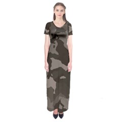 Background For Scrapbooking Or Other Camouflage Patterns Beige And Brown Short Sleeve Maxi Dress