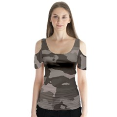 Background For Scrapbooking Or Other Camouflage Patterns Beige And Brown Butterfly Sleeve Cutout Tee