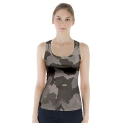 Background For Scrapbooking Or Other Camouflage Patterns Beige And Brown Racer Back Sports Top