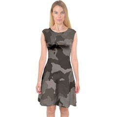 Background For Scrapbooking Or Other Camouflage Patterns Beige And Brown Capsleeve Midi Dress