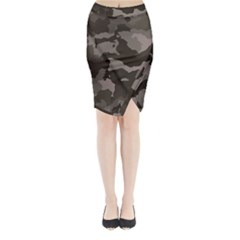 Background For Scrapbooking Or Other Camouflage Patterns Beige And Brown Midi Wrap Pencil Skirt