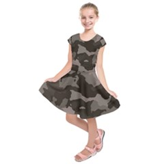Background For Scrapbooking Or Other Camouflage Patterns Beige And Brown Kids  Short Sleeve Dress